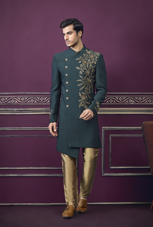 Green and Copper Mens Sherwani