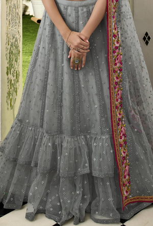Grey and Pink Lehenga Choli - Desi Royale