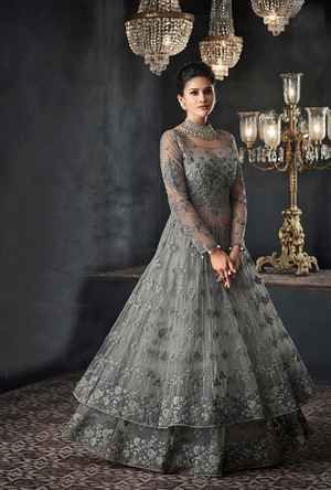 Grey Designer Party Wear Net Gown Suit - Desi Royale
