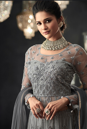 Grey Designer Party Wear Net Gown Suit