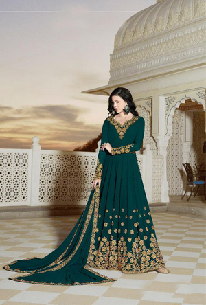 Green Anarkali Suit - Desi Royale