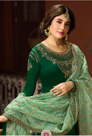 Forest Green Heavy Salwar Suit - Desi Royale
