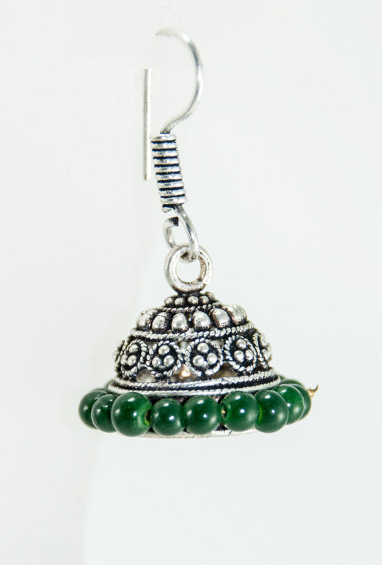 Black metal earrings with dark green beads - Desi Royale
