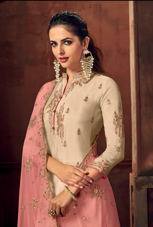 Off White and Pink Palazzo Suit - Desi Royale