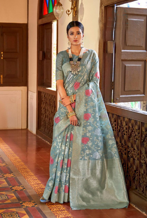 Blue Kansula Silk Saree - Desi Royale