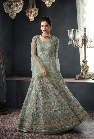 Sea Green Designer Party Wear Net Gown Suit