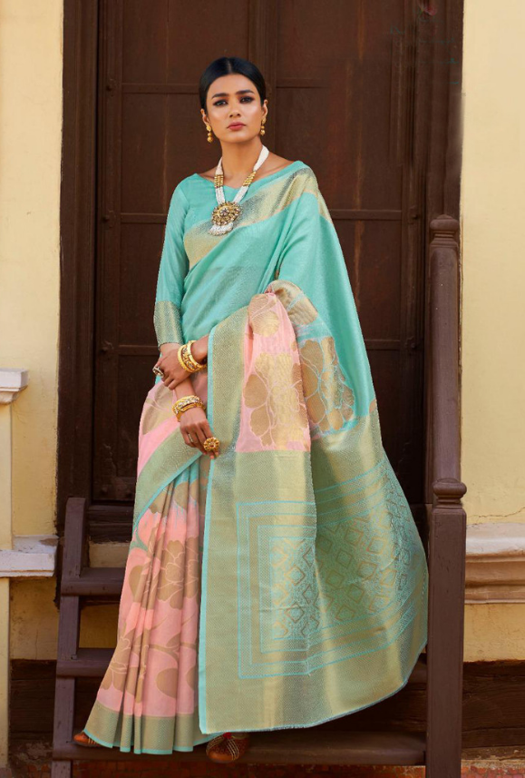 Sky Blue and Pink Kansula Silk Saree - Desi Royale