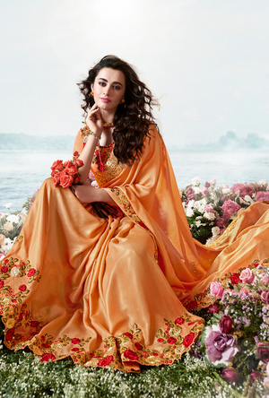 Orange Saree - Desi Royale