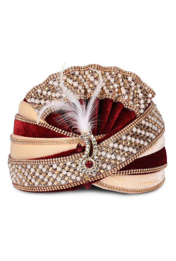 Maroon and Beige Wedding Groom Turban - Desi Royale