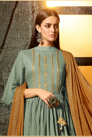 Sea Green Palazzo Pants Suit - Desi Royale