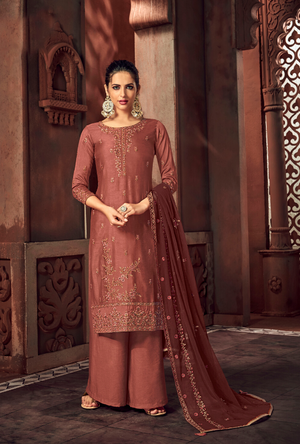 Copper Brown Palazzo Suit - Desi Royale