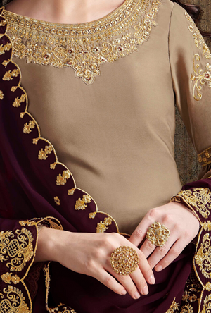 Beige and Purple Palazzo Suit - Desi Royale