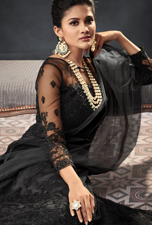Black Designer Party Wear Net Gown Suit - Desi Royale