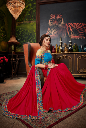 Red traditional Saree - Desi Royale
