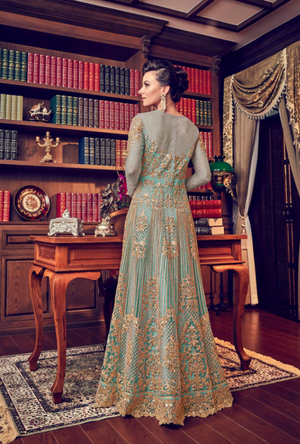 Sea Blue Anarkali Suit - Desi Royale