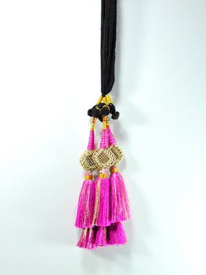 Stone Mesh Pink Parandi with Bells - Desi Royale