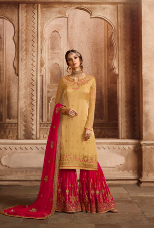 Off Yellow and Dark Pink Sharara Salwar Kameez - Desi Royale