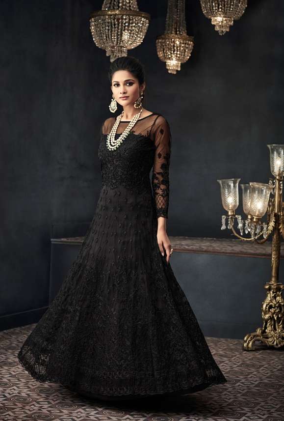 Black Designer Party Wear Net Gown Suit