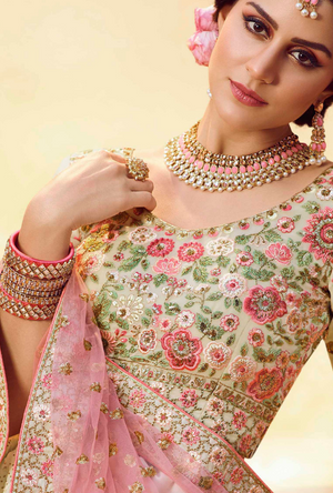 White and Pink Lehenga Choli