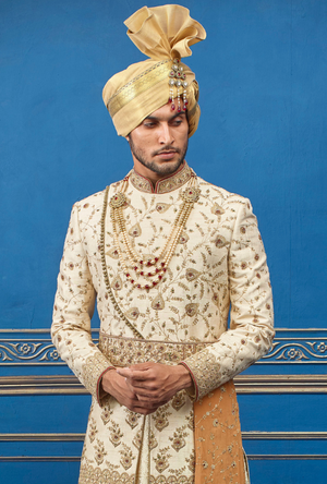 Cream Mens Sherwani