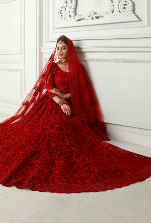 Red Heritage Lehenga Choli - Desi Royale