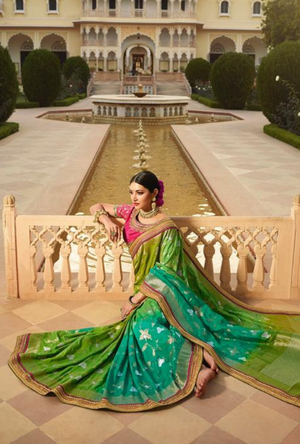 Green Silk Saree - Desi Royale