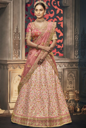Light Peach Designer Bridal Lehenga Choli - Desi Royale