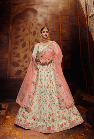 Off  White and Peach Lehenga Choli
