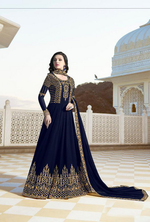 Navy Blue Anarkali Suit - Desi Royale
