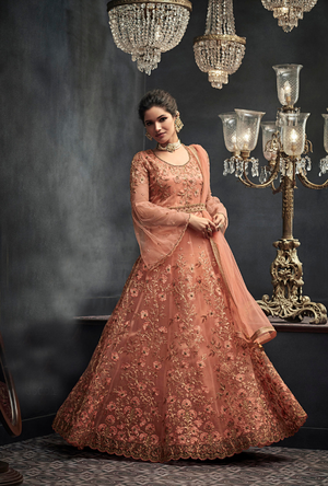 Light Orange Designer Party Wear Net Gown Suit