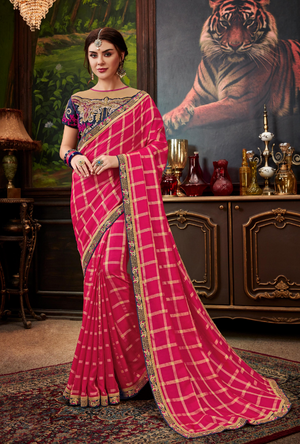 Pink traditional Saree - Desi Royale