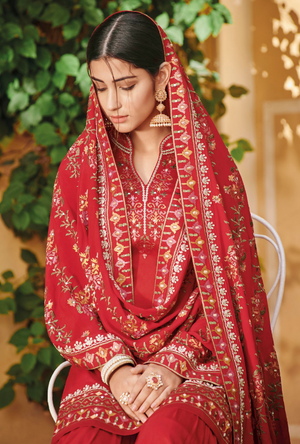 Red Silk Palazzo Suit - Desi Royale