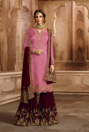 Grey and Dark Pink Sharara Salwar Kameez - Desi Royale