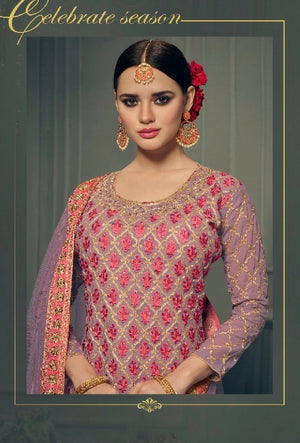 Purple Designer Embroidered Suit - Desi Royale