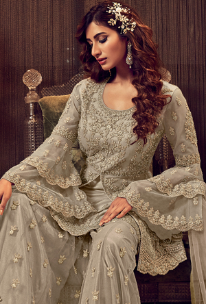 Grey Sharara Suit