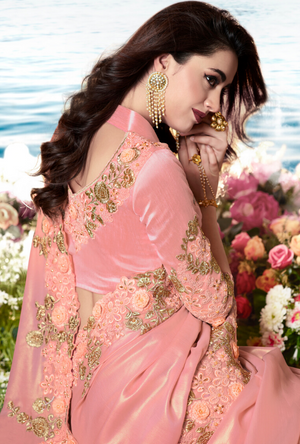 Peach Saree - Desi Royale