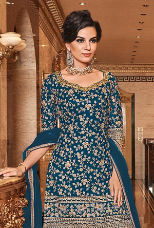 Sea Blue Salwar Suit
