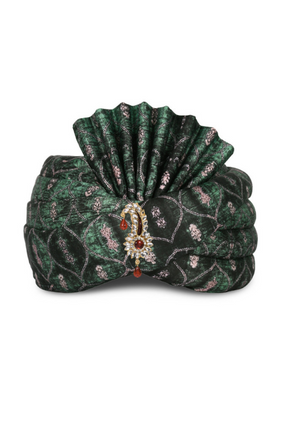 Green Satin Wedding Groom Turban - Desi Royale