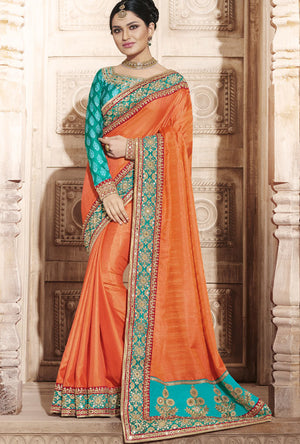 Orange And Green  Designer Party Wear Saree - Desi Royale