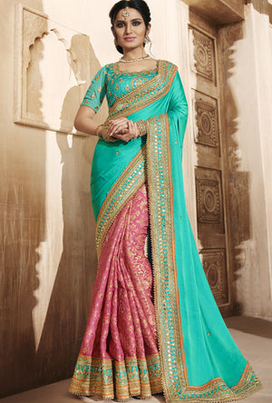 Green And Pink Designer Party Wear Saree - Desi Royale