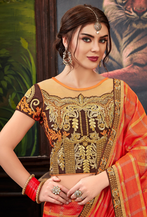 Orange traditional Saree - Desi Royale