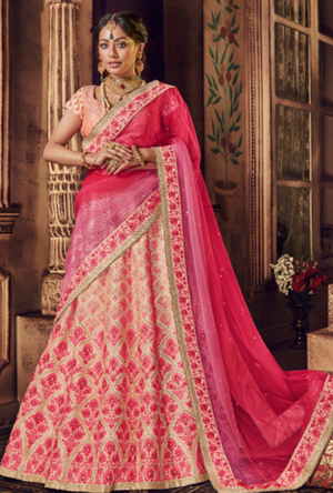 Light Peach Lehenga Choli - Desi Royale