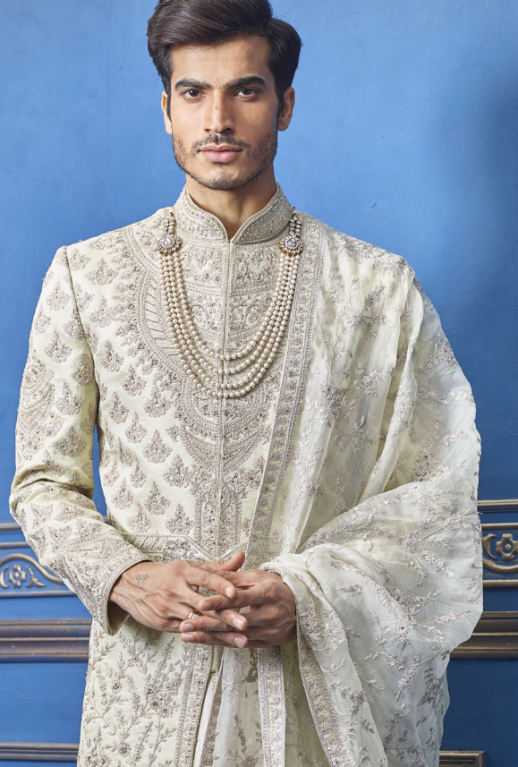 Light Pista Mens Sherwani