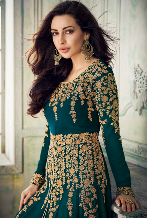 Sea Green Designer Anarkali Suit - Desi Royale