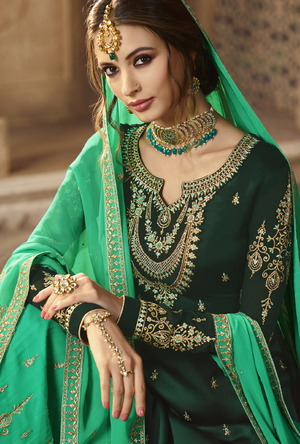 Dark Green and Aqua Sharara Salwar Kameez - Desi Royale