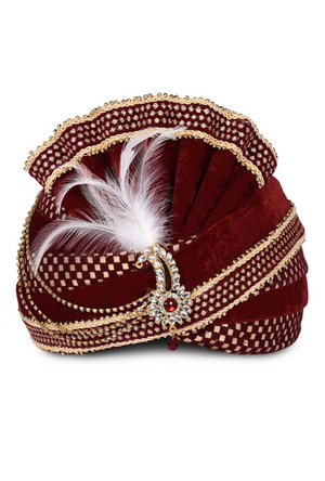 Maroon Wedding Groom Turban - Desi Royale
