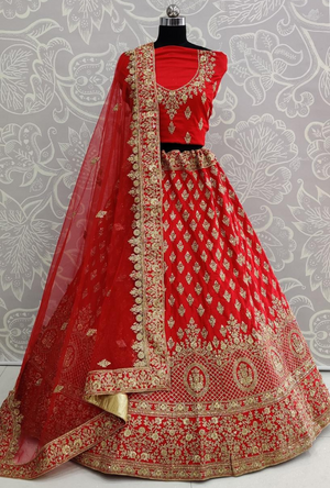 Pink and Green Lehenga Choli - Desi Royale