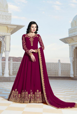 Magenta Anarkali Suit - Desi Royale