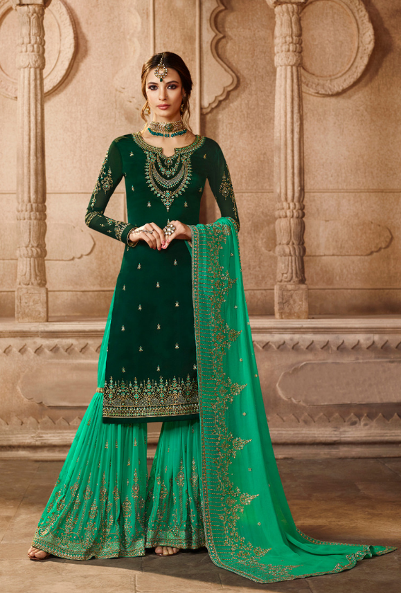c392568236 Dark Green and Aqua Sharara Salwar Kameez - Desi Royale