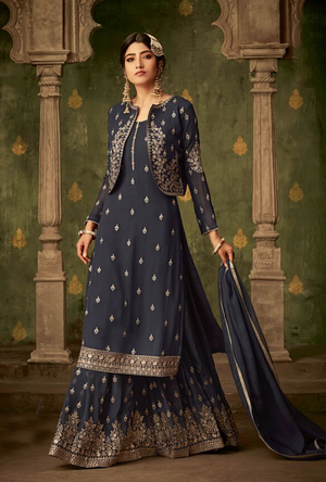 Dark Grey Sharara Suit - Desi Royale